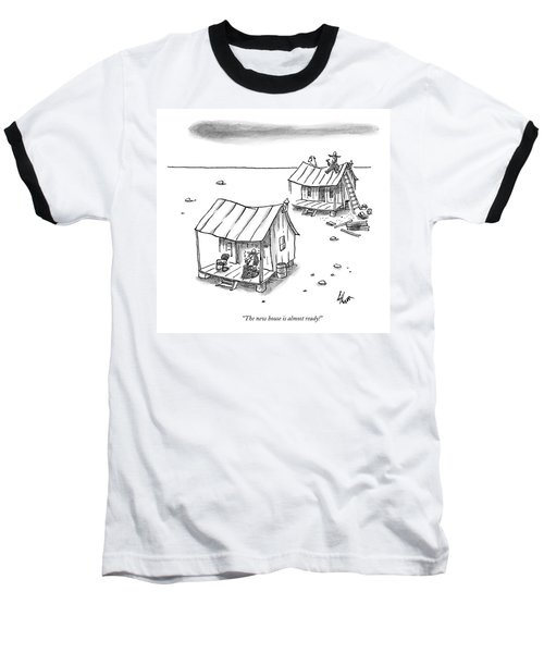 A Man On Top Of A Shack With A Ladder Baseball T-Shirt