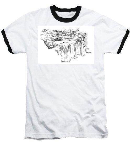A Man Paddles Backwards In A Small Boat Baseball T-Shirt