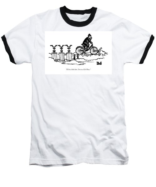 A Man Rides A Bicycle With A Snow Plow Attached Baseball T-Shirt