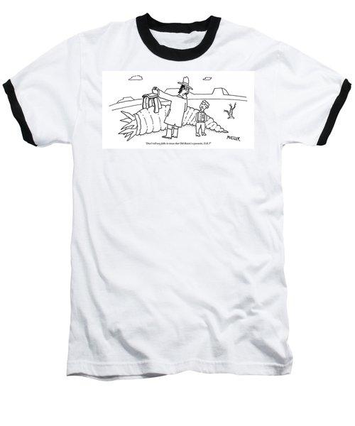 A Man Riding Through A Western Landscape Baseball T-Shirt
