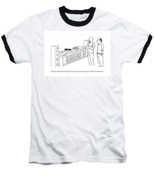 A Man Shows Another Man His Extensive Collection Baseball T-Shirt by Alex Gregory