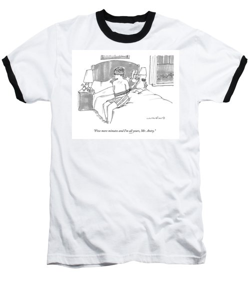 A Man Sits Tied Up In His Underwear On The Bed Baseball T-Shirt
