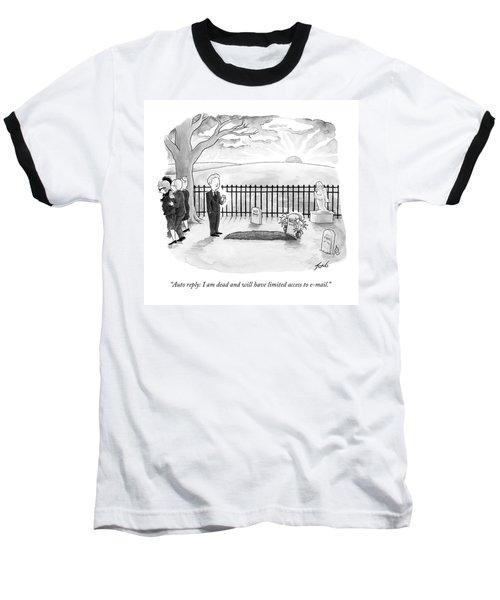 A Man Standing By A Fresh Grave After A Funeral Baseball T-Shirt
