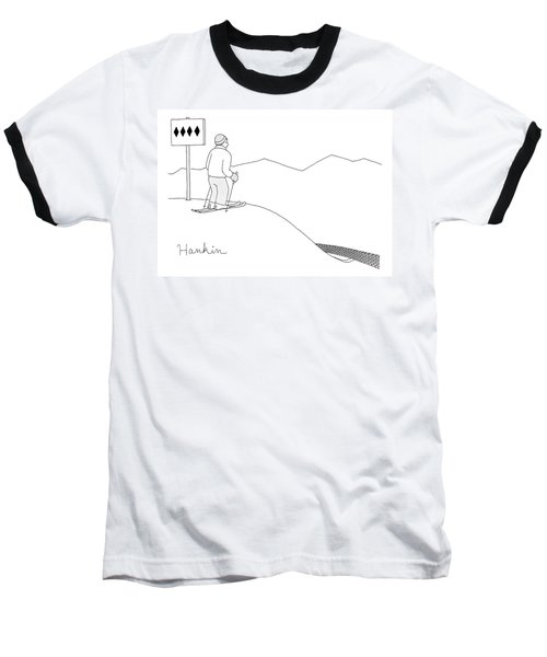 A Man Stands At The Top Of A Ski Slope Baseball T-Shirt