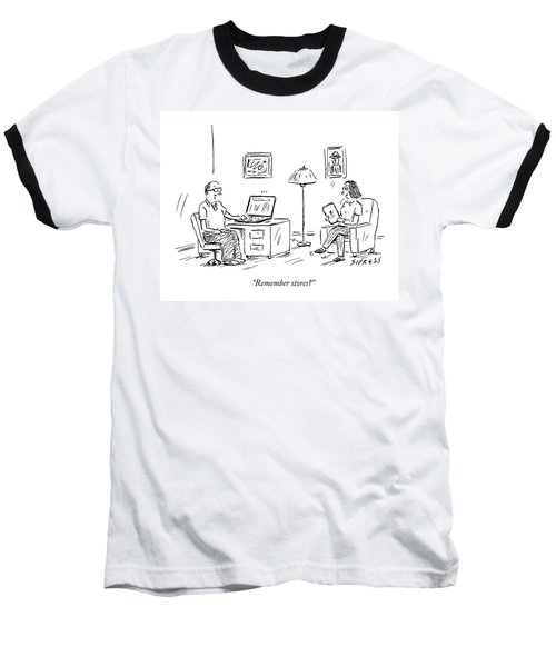 A Man Using A Computer Speaks To A Woman Who Baseball T-Shirt
