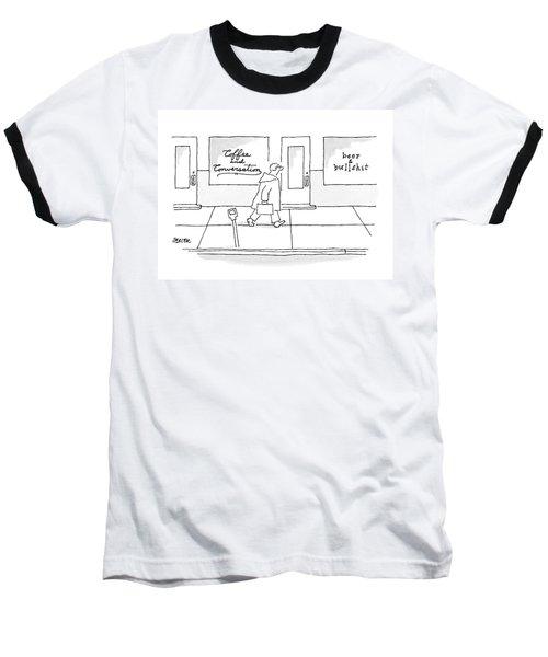 A Man Walks Past Two Shops Baseball T-Shirt