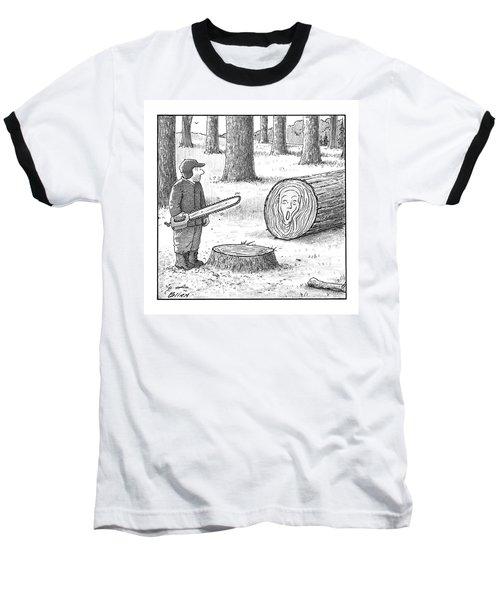 A Man Who Has Just Cut Down A Tree Sees That Baseball T-Shirt