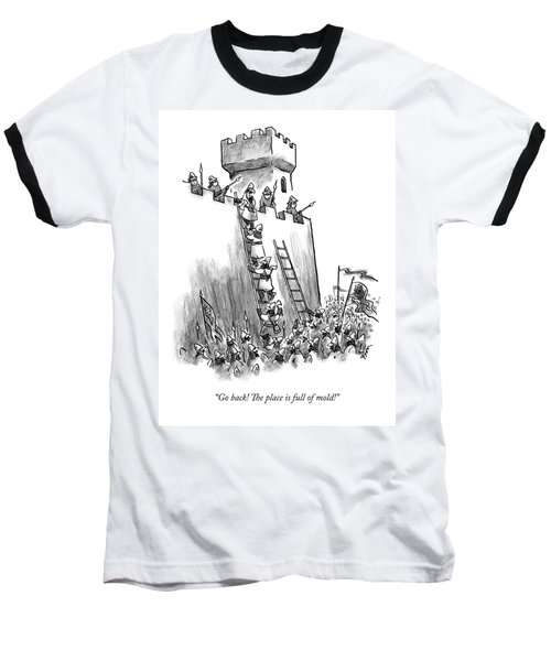 A Medieval Soldier Climbing A Ladder To The Top Baseball T-Shirt