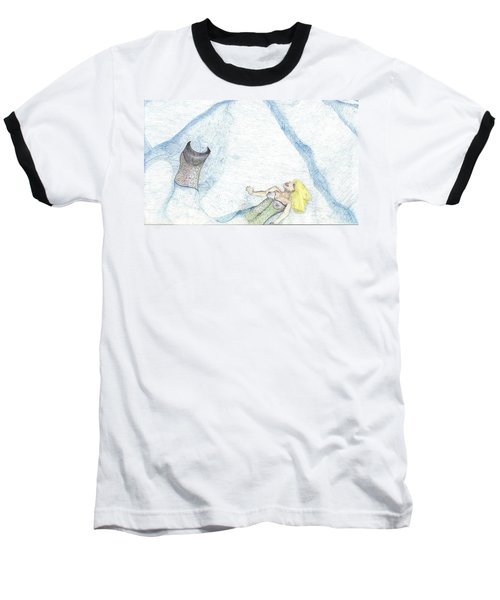 Baseball T-Shirt featuring the drawing A Mermaids Moment by Kim Pate