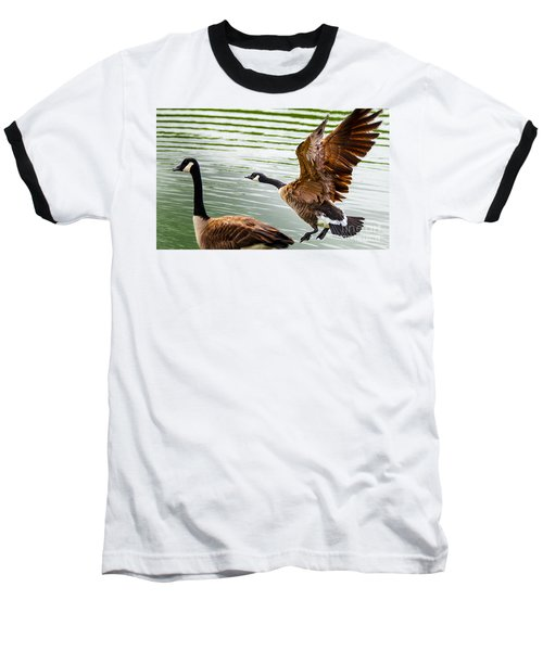 Baseball T-Shirt featuring the photograph A Pair Of Canada Geese Landing On Rockland Lake by Jerry Cowart