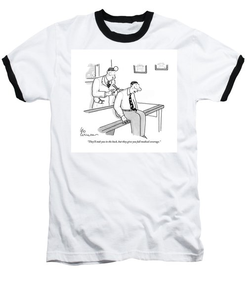 A Patient In Business Clothes On The Doctor's Baseball T-Shirt