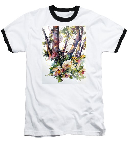 Baseball T-Shirt featuring the painting A Quiet Place by Rae Andrews