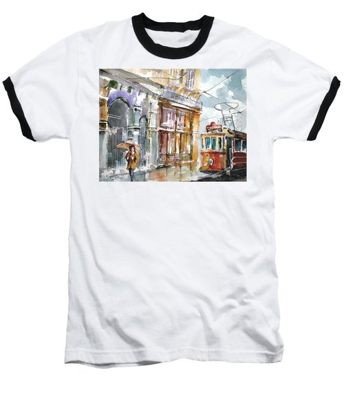 Baseball T-Shirt featuring the painting A Rainy Day In Istanbul by Faruk Koksal