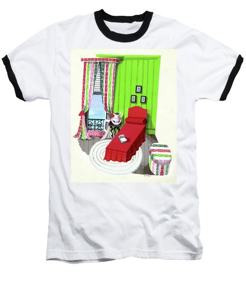 A Red Bed In A Bedroom Baseball T-Shirt