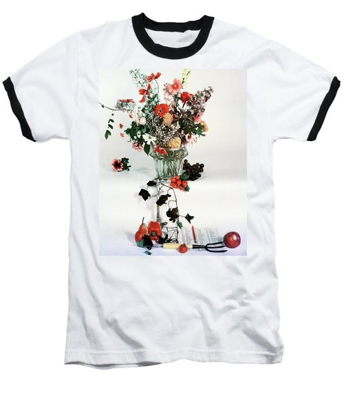 A Studio Shot Of A Vase Of Flowers And A Garden Baseball T-Shirt