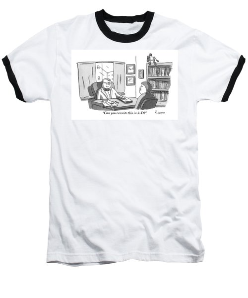 A Suited Man Behind A Desk Addresses A Writer Baseball T-Shirt