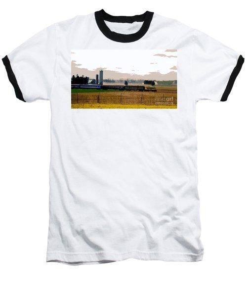 Baseball T-Shirt featuring the photograph A Train Runs Through It by Nina Silver