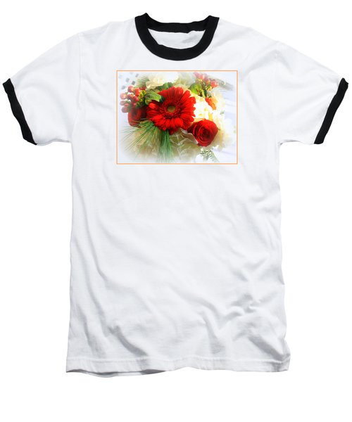 A Vision In Red Baseball T-Shirt by Dora Sofia Caputo Photographic Art and Design