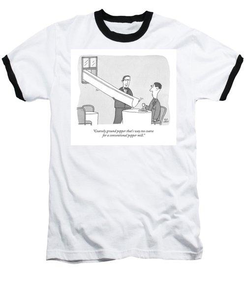 A Waiter Holds A Large Chute Over A Man's Plate Baseball T-Shirt