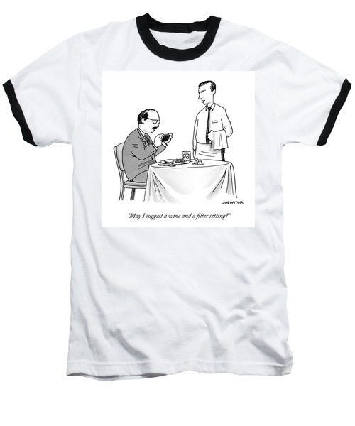 A Waiter Speaks To A Customer Who Is Taking Baseball T-Shirt