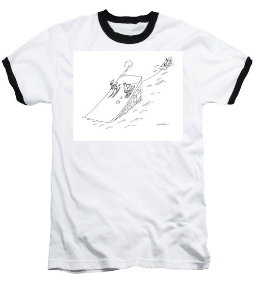 A Water Skier Encounters A Long Jump Downhill Baseball T-Shirt