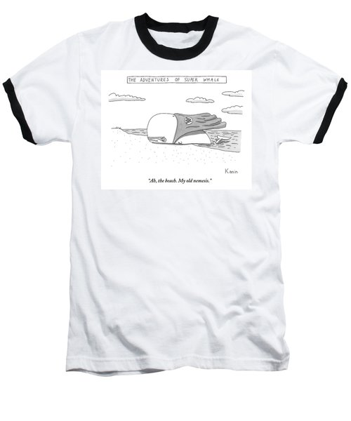 A Whale In A Cape Is Laying On A Beach Baseball T-Shirt