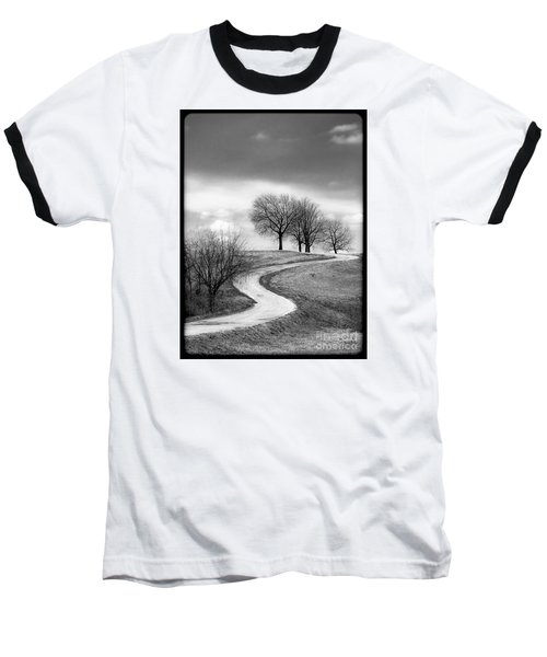 A Winding Country Road In Black And White Baseball T-Shirt
