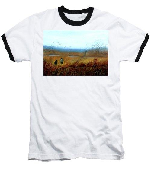 Baseball T-Shirt featuring the painting A Winter Walk by Gail Kirtz