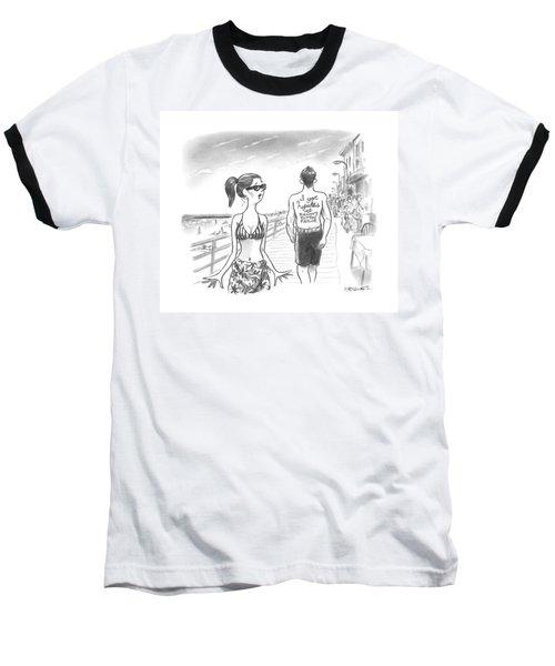 A Woman Passes A Man On The Boardwalk. Tattooed Baseball T-Shirt