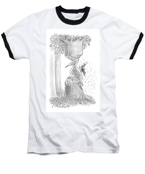 A Woodpecker Is Using His Beak To Carve Is Own Baseball T-Shirt