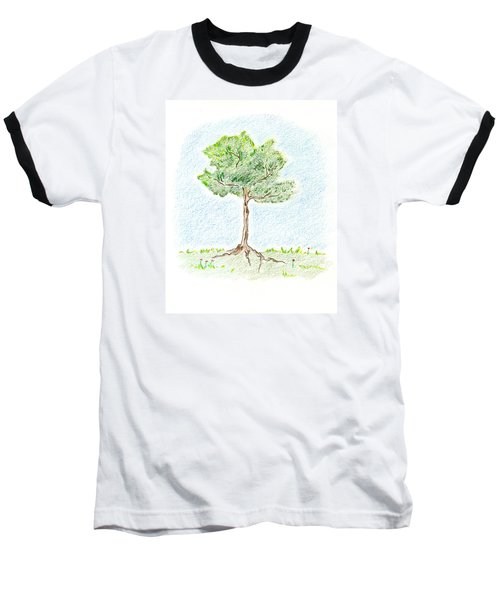 Baseball T-Shirt featuring the drawing A Young Tree by Keiko Katsuta