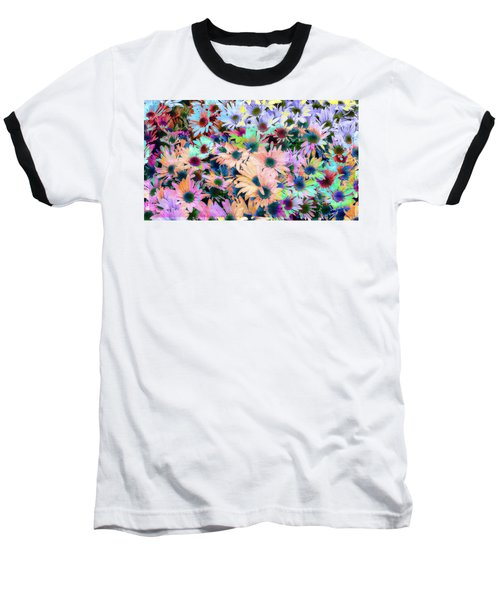 Abstract Colored Flowers Baseball T-Shirt by Susan Stone