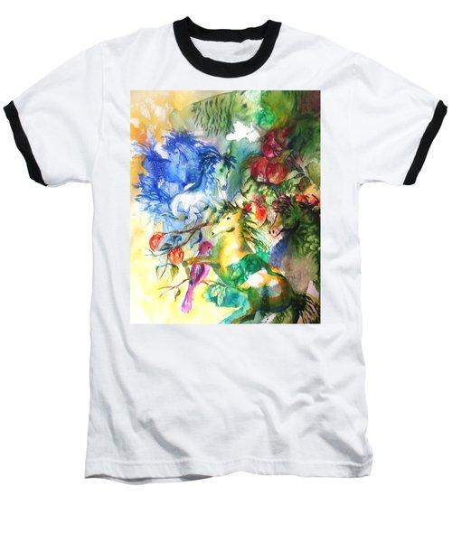 Abstract Horses Baseball T-Shirt