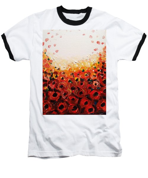 Abstract Poppies 2 Baseball T-Shirt by Hae Kim