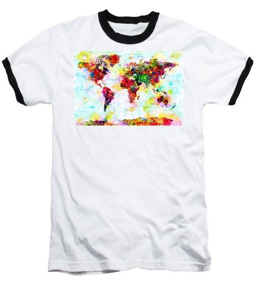 Abstract World Map Baseball T-Shirt