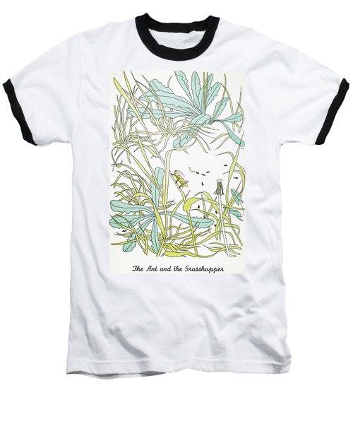 Aesop: Ant & Grasshopper Baseball T-Shirt