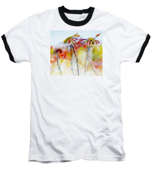Baseball T-Shirt featuring the painting African Daisy Abstract by Lisa Kaiser