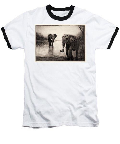 African Elephants At Sunset Baseball T-Shirt