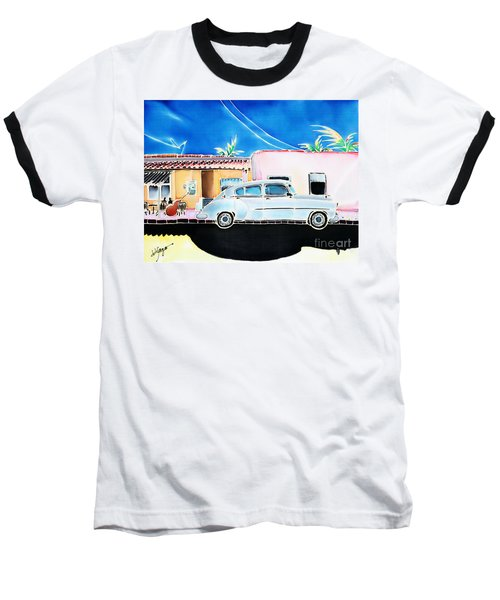 Baseball T-Shirt featuring the painting Afternoon In Cojimar by Hisayo Ohta