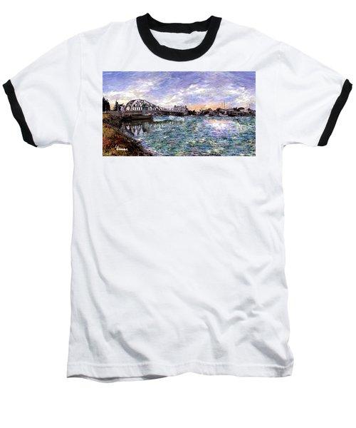 Baseball T-Shirt featuring the painting Alameda High Street Bridge  by Linda Weinstock