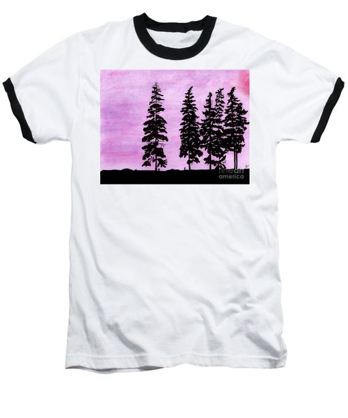 Baseball T-Shirt featuring the drawing Colorful - Alaska - Sunset by D Hackett