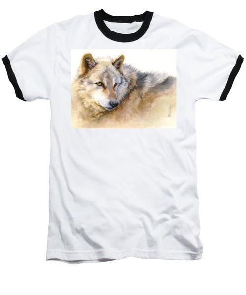 Alaskan Gray Wolf Baseball T-Shirt