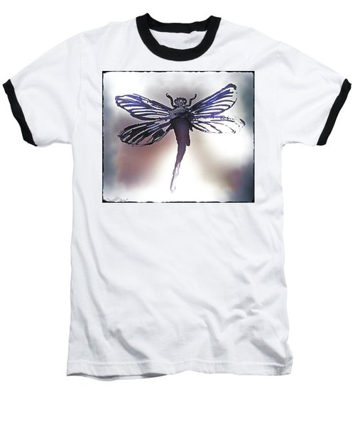 Alcohol Inks Purple Dragonfly Baseball T-Shirt
