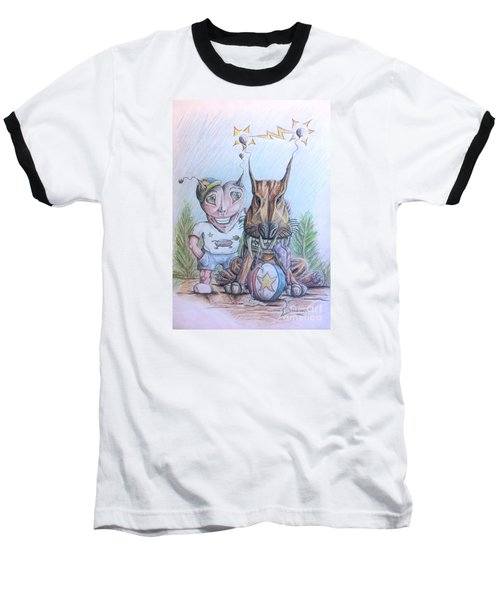 Baseball T-Shirt featuring the painting Alien Boy And His Best Friend by R Muirhead Art