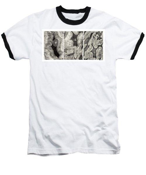 Alien Triptych Landscape Bw Baseball T-Shirt
