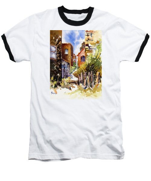 Baseball T-Shirt featuring the painting Alleyway Charm 2 by Rae Andrews