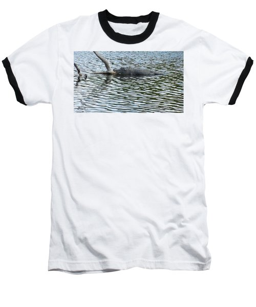Baseball T-Shirt featuring the photograph Alligator Resting On A Log by Ron Davidson
