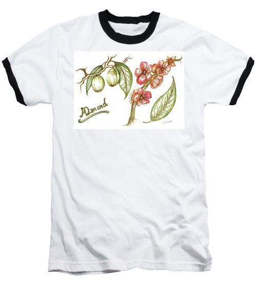 Almond With Flowers Baseball T-Shirt