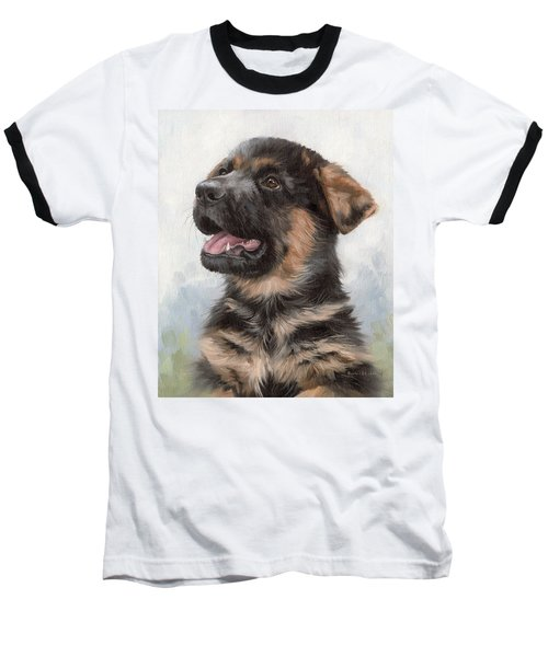 Alsatian Puppy Painting Baseball T-Shirt