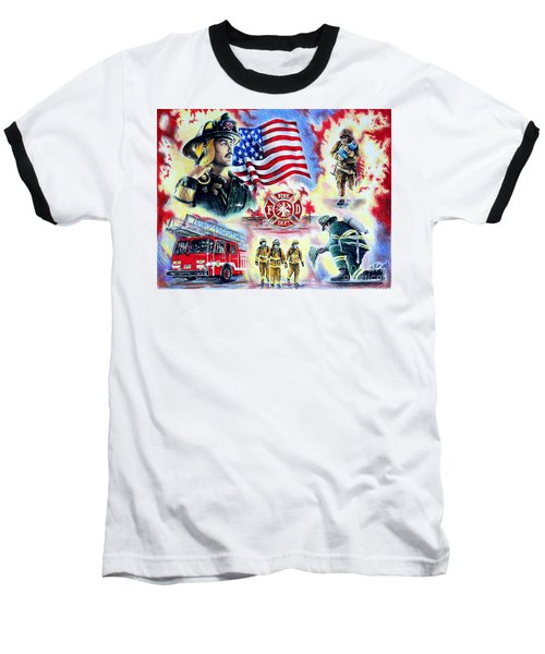 American Firefighters Baseball T-Shirt